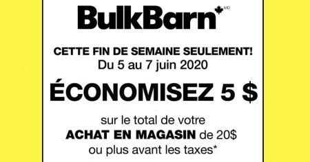 Photo of BulkBarn: Coupon rabais de 5$ sur tout achat de 20$ ou plus
