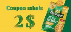 Coupon rabais de 2$ sur un produit All-Day Breakfast Cavendish (454g – 750g)